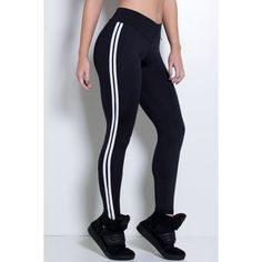 Calça Legging com Listras (Preto / Branco)   R$50