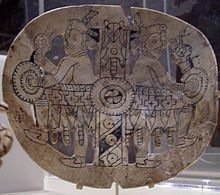 Engraved conch shell gorget from Spiro Mounds, Oklahoma. Pre-Columbian about 1250 CE