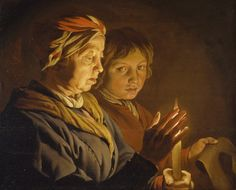 An old woman and a boy by candlelight, Matthias Stomer