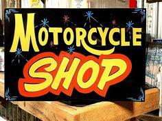 Vintage MOTORCYCLE SHOP Sign Art Gas Station Harley Chopper Bike Repair Shop #SignsByPierce