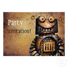 Little Robot Invitation by Paul Stickland for StrangeStore on Zazzle #robots #strangestore