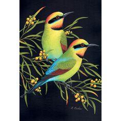 Rainbow Bee-eaters by Lyn Cooke Australian Animals, Australian Art, Animal Paintings, Buy Paintings, Bee Eater, Bird Artwork, Animal Sketches, Bird Illustration, Watercolor Bird