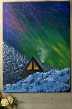 Northern Lights Painting / Aurora Borealis Painting - What is the Aurora Borealis? Canvas Painting Tutorials, Acrylic Painting Canvas, Painting Videos, Art Painting Gallery, Easy Canvas Art, Light Painting, Painting Northern Lights, Cool Art Drawings, Landscape Paintings