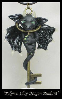 Key Dragon Polymer Clay Pendant Fantasy Handmade OOAK Wearable Art Doll Dragons by kabidesigns via ebay