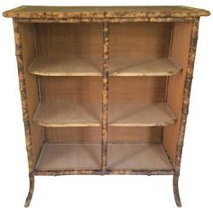 Antique Rattan and Bamboo Open Cabinet with Shelves