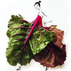 On reste avec la nourriture pour découvrir cette fois-ci les délicieuses illustrations de mode composées uniquement de fruits et de légumes signéesGretchen Röehrs.  Couleurs nature C'est dans la belle ville de San-Francisco aux Etats-Unis que cette illustratrice de mode met en images ses dess