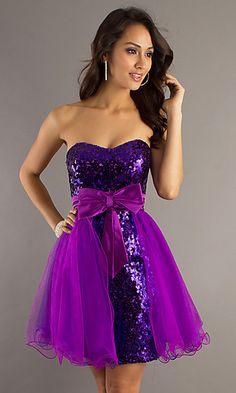 DJ-6724: Strapless Purple Sequined Dress