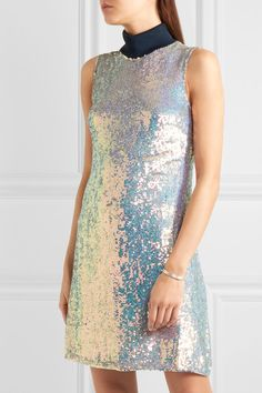 3.1 Phillip Lim | Jersey-trimmed sequined silk turtleneck dress | NET-A-PORTER.COM