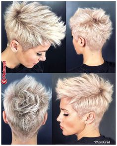 26 Easy Short Pixie Cuts for Chic Ladies When it comes to choosing the perfect s. - My list of women's hairstyles Short Pixie Haircuts, Pixie Hairstyles, Short Hairstyles For Women, Short Hair Cuts, Cool Hairstyles, Short Mohawk, Pixie Mohawk, Short Undercut, Haircut Short