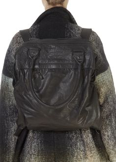 This is the superb 'Kabo' Black Leather Rucksack Bag by Annette Gortz! A leather backpack and bag, a spacious inside and multiple handles. The perfect addition to your winter wardrobe! Rucksack Bag, Leather Backpack, Leather Jacket, Polo Jumper, Beige Long Sleeve Tops, Winter Wardrobe, Shop Now, Black Leather, Stylish