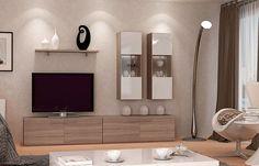 Mueble de salón modelo Tango realizado en blanco brillo y roble cortez, una composición en kit elegante y sencilla para ambientes modernos con un toque natural. #roble #blanco #salon #modulos #hogar #livng #casa 3decoracion #moderno #sencillo