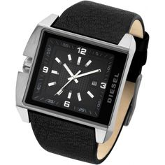A unique and edgy Diesel watch with a sleek and bold aesthetic, this design for men features a brushed stainless steel case and a highly on trend wide black leather strap. The prominent square dial is black with white detailing, has three hand movement and a date window. The Diesel logo is also displayed.