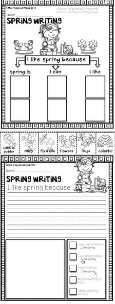 Download free printables at preview. Spring writing- I like spring because....... Spring Math and Literacy No Prep - Kindergarten