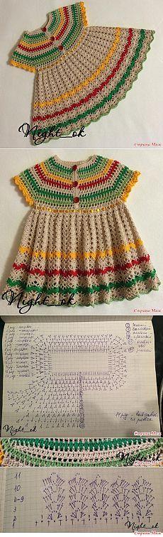 Vestido de crochê infantil colorido e com gráfico