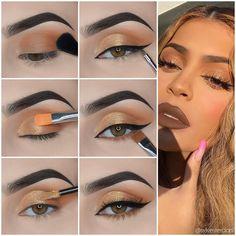 Kylie Jenner Eyes, Kylie Jenner Makeup Look, Maquillage Kylie Jenner, Kylie Jenner Makeup Tutorial, Kylie Jenner Makeup Step By Step, Red Eye Makeup, Eye Makeup Steps, Makeup Eye Looks, Eyeshadow Makeup