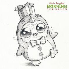 Penguin Suit!  #morningscribbles #christmas2015 ❄️