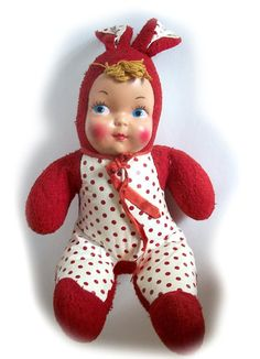 1940's bunny cloth doll with plastic face.