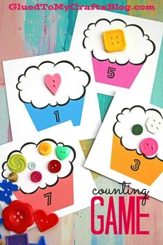 """I'm sharing a cupcake themed """"busy bag"""" learning game activity that is quick, easy and inexpensive to put together on the fly! Counting Activities, Free Preschool, Preschool Crafts, Preschool Activities, Crafts For Kids, Family Activities, Montessori Preschool, Space Activities, Classroom Crafts"""