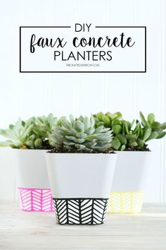 Faux Concrete Planters | The Crafted Sparrow