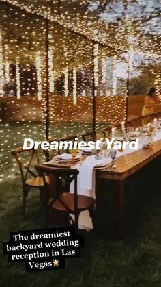 Backyard Wedding Decorations, Elegant Backyard Wedding, Outdoor Wedding Theme, Backyard Wedding Receptions, Small Backyard Weddings, Outdoor Wedding Lights, Long Wedding Tables, Wedding Bonfire, Backyard Party Lighting