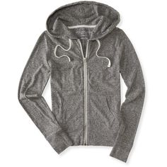 Aeropostale Lightweight Core Full-Zip Hoodie ($10) ❤ liked on Polyvore featuring activewear, activewear tops, charcoal heather grey, yoga activewear and aéropostale
