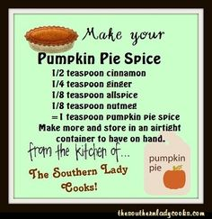 HANDY FOOD TIP – MAKE YOUR OWN PUMPKIN PIE SPICE Did you ever get ready to make a pie and check the cupboard for spices to find that you don't have the one you are looking for? Here is a handy tip on how to make your own pumpkin pie spice in cas. Homemade Spices, Homemade Seasonings, Spice Blends, Spice Mixes, Hacks Cocina, Do It Yourself Food, Cooking Recipes, Smoker Recipes, Rib Recipes