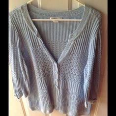 Womens CJ Banks summer sweater size 1x Great summer sweater by CJ Banks. Light blue color. Button up front. V neck. All my items come from a smoke and pet free home. Christopher & Banks Sweaters Cardigans