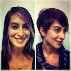 Best transformation ever! Before and After to a beautiful short razored Pixie cut and some new and improved color! LOVE it.   by Danielle Hardy  http://cutnj.com