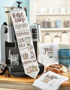 Kitchen Essentials Cross Stitch Patterns Coffee Banner and Napkins