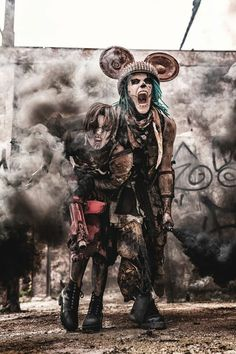 Only the strongest Mice survive ☢️☢️ With Triz Täss  Photograph Micha Beckers    #wastelandwarriors #wasteland #endzeit #postapocalyptic #mouse #mice #mickey #wastelanddisney #distopia #futurestyle #futuristic #gothboy #gothgirl #makeup #smokebomb #lostplaces #abandoned #jadedjewall #psycho #fighter #skullface #wastelandweekend #madmax #tattoo
