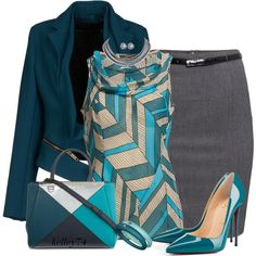 A fashion look from October 2014 featuring blue blouse, collar jacket and stretchy skirts. Browse and shop related looks.