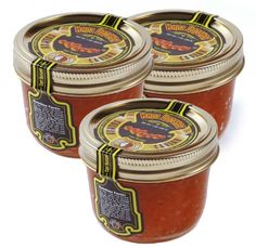 Provides 450 mg of Omega-3 per serving Kosher OU certified Made in USA Tsar's Salmon (Red) Caviar 200 g (7 oz.). Pack of three jars