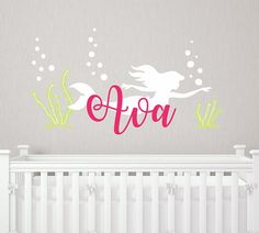 Mermaid Name Wall Decal   Little Mermaid Inspired Wall Decal And Decor    Personalized Mermaid Decal