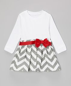 Look what I found on #zulily! Caught Ya Lookin' Gray & Crimson Bow Zigzag Dress - Infant & Toddler by Caught Ya Lookin' #zulilyfinds
