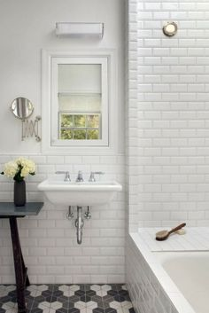 Bathroom: Beautiful White Ceramic Subway Tile Bathroom With Stunning White Bathroom Design Ideas from Beautiful Subway Tile Bathroom White Beveled Subway Tile, White Tiles, Subway Tiles, Wall Tiles, Hex Tile, Hexagon Tiles, Mosaic Tiles, Splashback Tiles, Geometric Tiles