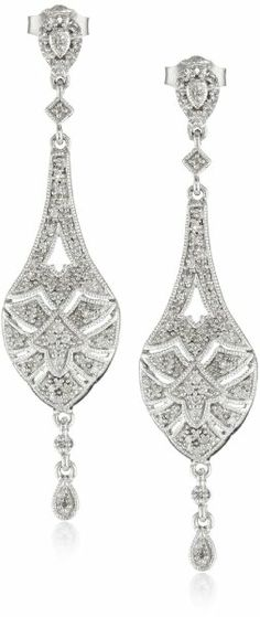 Sterling Silver and Diamond Vintage-Inspired Dangle Earrings (1/3 cttw, I-J Color, I2-I3 Clarity)