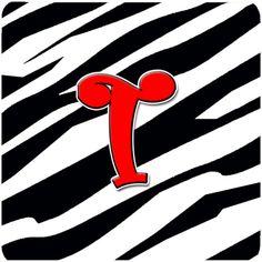 Set of 4 Monogram - Zebra Red Foam Coasters Initial Letter T