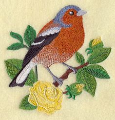 Chaffinch Bird and English Tea Rose - 2 EMBROIDERED HAND TOWELS by Susan