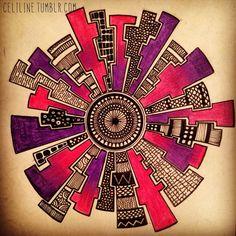 """""""Wheel"""" by Celiline Zentangle Drawings, Doodles Zentangles, Doodle Drawings, Doodle Patterns, Zentangle Patterns, Zen Doodle, Doodle Art, Atelier D Art, Sharpie Art"""