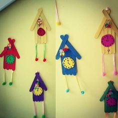 popsicle stcik clock craft  |   Crafts and Worksheets for Preschool,Toddler and Kindergarten