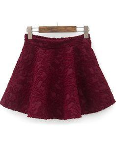 Wine Red Elastic Waist Embroidered Pleated Skirt GBP£15.55