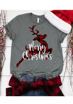 Christmas SVG Buffalo Plaid Reindeer This t-shirt is Made To Order, one by one printed so we can control the quality. Christmas Vinyl, Family Christmas, Christmas Clothes, Vinyl Christmas Shirts, Merry Christmas, Christmas Outfits, Christmas Pajamas, Christmas Shirts For Kids, Christmas Time