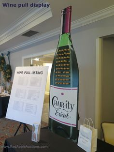 Re-usable wine pull display for the gala auction