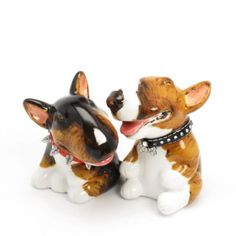Ornament Dog Figurine Gift Bull Terrier salt and pepper these are individually hand made.