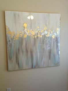 White, gray, blue, gold and silver abstract art 48x48 by Jenn Meador. jennmeadorpaint@g...