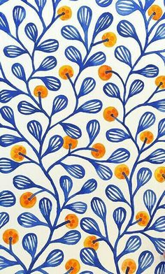 First I painted orange flowers, but I didn't like them. So I painted over the orange flowers with orange berries. When I scan this in, I may try a different type of berry. Something flatter that doesn't have a stem that goes into the center of each berry. Watercolor Journal, Watercolor Paintings, Watercolors, Surface Pattern Design, Pattern Art, Motifs Textiles, Guache, Pattern Illustration, Orange Flowers