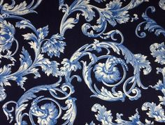 Kanvas BAROQUE SCROLL Navy 100% Cotton Premium Fabric for