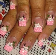 . Toe Designs, Pink Nail Designs, Hair And Nails, My Nails, Nail Pops, Polka Dot Nails, French Tip Nails, Finger, Christmas Nail Art