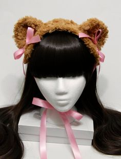 Sweet Caramel and Pink Teddy Bear Gothic and Lolita Bonnet - Made to Order