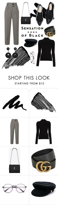 """""""back in black"""" by aliarljones ❤ liked on Polyvore featuring Vision, Sisley, Petar Petrov, Yves Saint Laurent, Gucci, Manokhi, Giorgio Armani and allblackoutfit"""